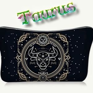 Astrology Taurus Makeup Bag Black Zodiac